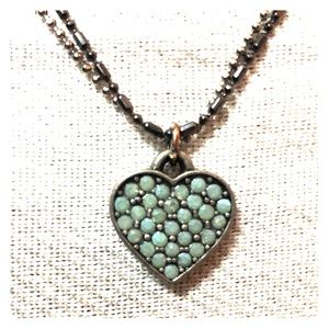 Jewelry - Teal heart antiqued double strand necklace